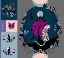 Tiger Fly Digital Panel - Ruby Star Society Fabric